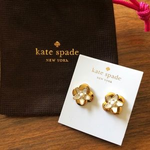 Kate Spade Gold Plated Flower Pearl Stud Earrings